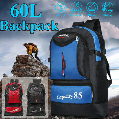 60L Outdoor Waterproof Rucksacks Travel Backpack Camping Hiking Trekking Bag