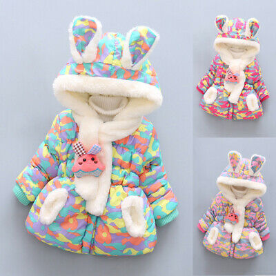 Girls Baby Kids Coat Jacket Winter Hooded Warm Camouflage Parka Padded Outerwear