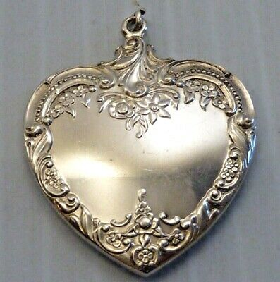"""Wallace """"Grande Baroque"""" Sterling Silver Large Heart Pendant"""