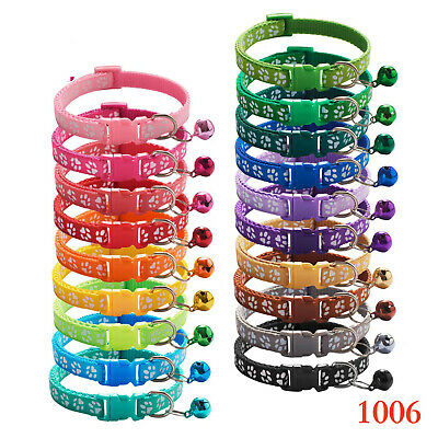 Dog Puppy Pet Collar Adjustable Nylon Paw Print small 10 colours New