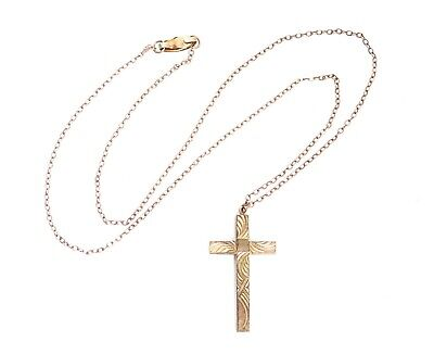 """Beautiful Antique Gold Filled Chain & Etched Design Cross Pendant Necklace 18"""""""