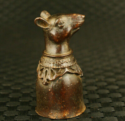 rare Chinese bronze hand carved mouse statue wine cup collectible decoration