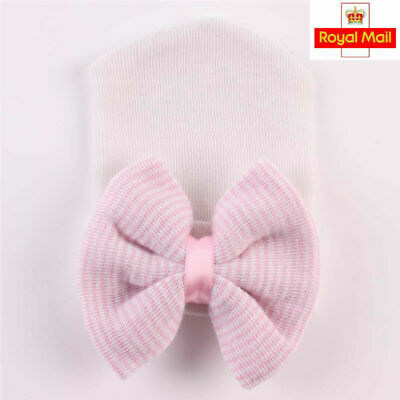 Pink+White Baby Kid Infant Striped Soft Hat with Bow Hospital Newborn Beanie Cap