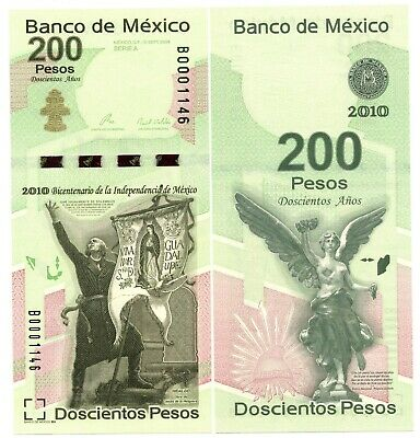 Mexico 200 Pesos 2010 Commemorative Independence UNC Note P. 129