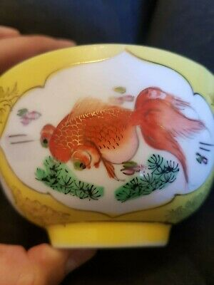 Vintage Antique Chinese Porcelain Yellow bowl - hand painted Koi fish-motif plus
