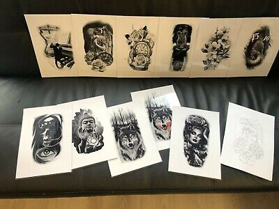 tattoo flash set 7. A4 size black and grey 10 laminated sheets . with linework!