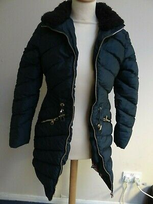 New ladies black zipped  quilted down parka by Ted Baker size 2