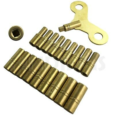 SET 18 CLOCK WINDING BRASS KEYS 1.75mm - 6.0mm OR 000-15 RADIATOR KEY TOOL