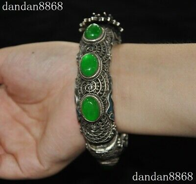 Old Dynasty Silver inlay Green Jade Gem Dragon head Jewelry bracelet Bangle