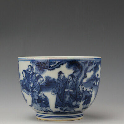 Chinese old antique Porcelain Kangxi marked blue white man Children Beauty cup