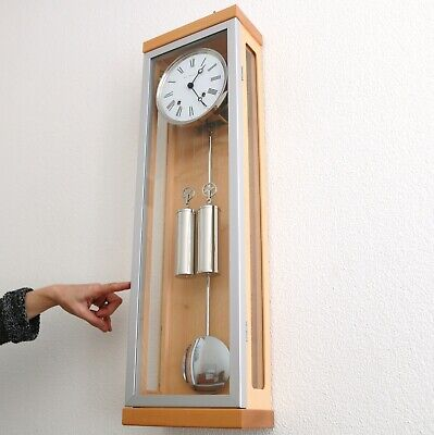 HERMLE XXL Wall Clock TOP RANGE! Translucent Chime Weights Minimalistic! Germany