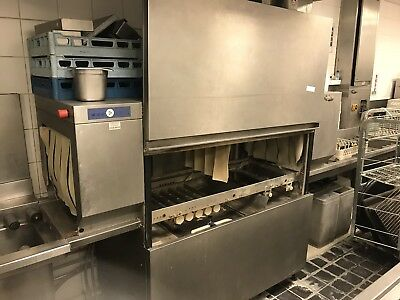 Hobart CN-A Conveyor Dishwasher with Exit Table and Tray's
