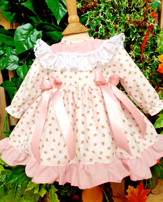 DREAM 0-5 years baby girls spring  pink rosebud puffball frilly collared  dress