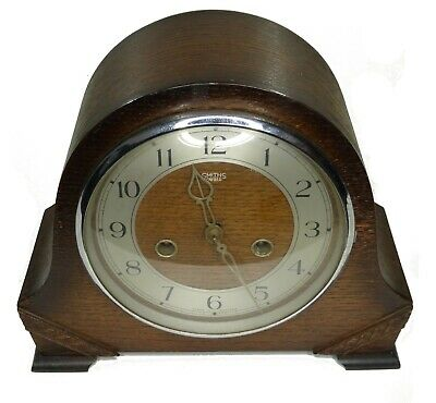 Antique Smiths Enfield Wooden Mantle Clock - Spares Repairs With Key
