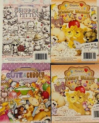 4 Hunkydory Little Books Paper Pads Teddy Bears Smudge Mitten Cute Cuddly