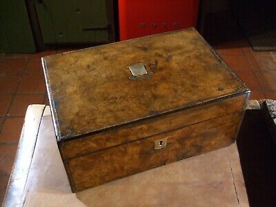 ANTIQUE VICTORIAN BURR WALNUT WRITING SLOPE with SECRET DRAWERS