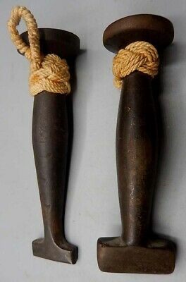RARE 2 Antique 19th Century Cast Steel (Iron?) Sailors Sail Maker's Seam Rubbers