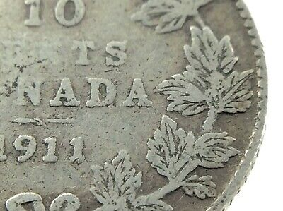 1911 Broad Leaves Canada 10 Cents Silver Dime Circulated George V Coin M995