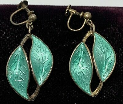 Vtg David Andersen Norway Sterling & Green Enamel Leaf Dangle Earrings Screws