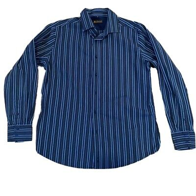 Ben Sherman Mens Button Front Shirt Blue Gray Striped Cuffed Long Sleeves 4 / XL