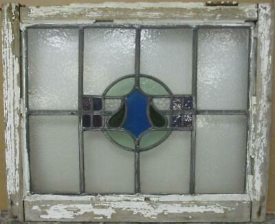 "OLD ENGLISH LEADED STAINED GLASS WINDOW Gorgeous Abstract Design 22.5"" x 18.5"""
