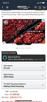 """LG OLED55B9PLA 55"""" Smart 4K Ultra HD HDR OLED TV with Google Assistant - Currys"""