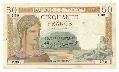 1935 50 Francs French CERES aVF Note P. 81