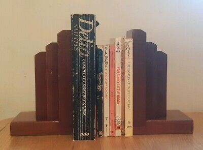 Solid Wood Bookends (Pair) Art Deco/Arts & Crafts Charming Vintage