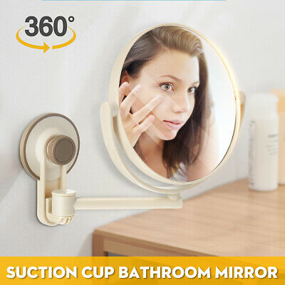 360° Suction Cup Wall Mounted Adjustable MakeUp Shaving Round Bathroom Mirrors