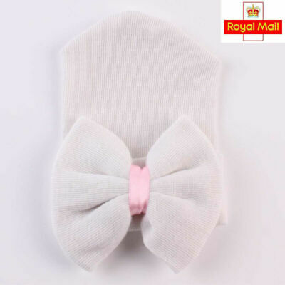 White Baby Girl Boy Infant Striped Soft Hat with Bow Hospital Newborn Beanie Cap