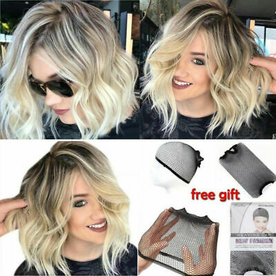 Fashion Womens Bob Wavy Hair Wigs Natural Brown Blonde Short Curly Wig Hen Party