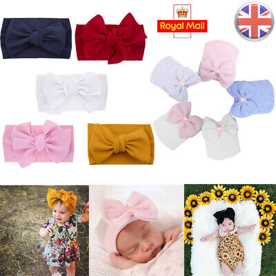Baby Cotton Big Bow Tie Head Wrap Turban Top Knot Headband Baby Hat Newborn Kids