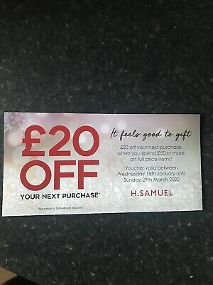 H Samuel jewellers Discount Coupon Voucher £20 Off spend £50 exp 29 march 2020