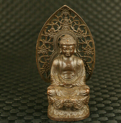 chinese old bronze hand casting Buddha figure statue temple bless decoration