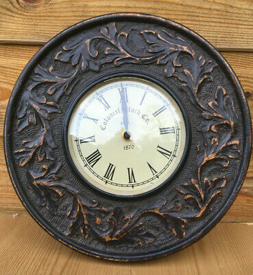 Vintage Antique Style Carved Oak Wood Colonial Clock Company Wall Mount Clock