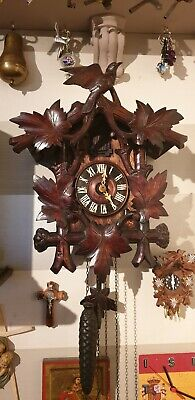 ANTIQUE CUCKOO CLOCK LARGE HAND CARVED BLACK FOREST WORKING ORDER circa 1890