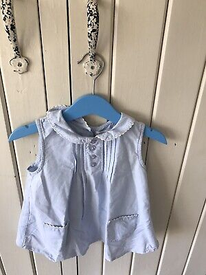 Next Girls Pale Blue Button Back Blouse / Top 2/3 Years