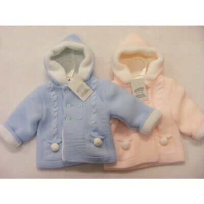 Baby Boys Girls Spanish Romany Jacket Double Knitted Pom Pom Pram Coat Blue Pink