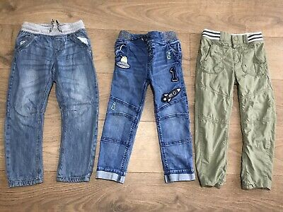 Bundle x 3 pairs boys jeans green trousers 4-5 years elasticated waist F268