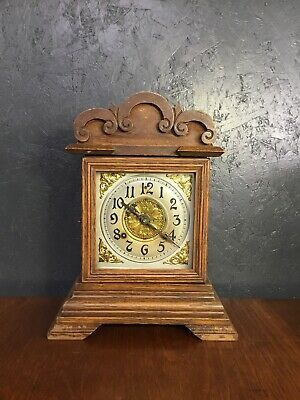 Antique Oak Mantle Clock Anosonia American Movement In Working Order With Key