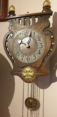 Antique Art Nouveau Arts and Crafts 8 Day  Weight Driven Wall Clock