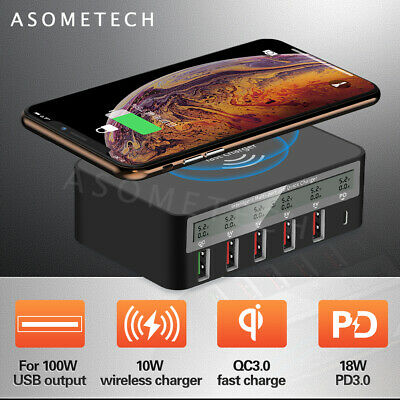 QC3.0 Charge 100W USB PD TypeC Multi-Ports Qi Wireless Fast Charger Dock Station