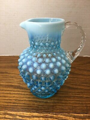 "Vintage Fenton Blue Opalescent Hobnail 5 3/4"" Tall Pitcher."