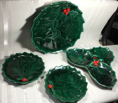 4 Vtg  Lefton Green Christmas Holly Berry 2 Small & 1 Dinner Plate 1 Candy Dish