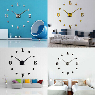 DIY 3D Wall Stickers Clocks Large Digital Wall Clock Home Living Room Decoror