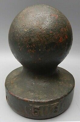 "Vintage / Antique Cast Iron Cannonball Finial - Old Green Paint - 6"" Tall"