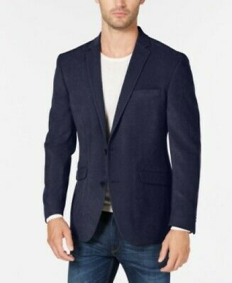 $295 Kenneth Cole Solid Front Two Button Blazer Jacket Navy Mens 38R 38 NEW