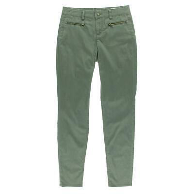Vince Camuto Womens Green Washed Sateen Flat Front Skinny Pants 26 BHFO 5238