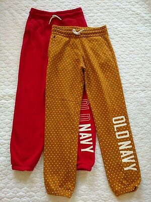 OLD NAVY Sweatpants Girls L 10/12 Mustard Polka Dot & Red Jogger Pants Large