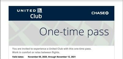 2 Passes for United Club One Time Pass EXP 11/13/2020 NOT CHASE fast E-delivery